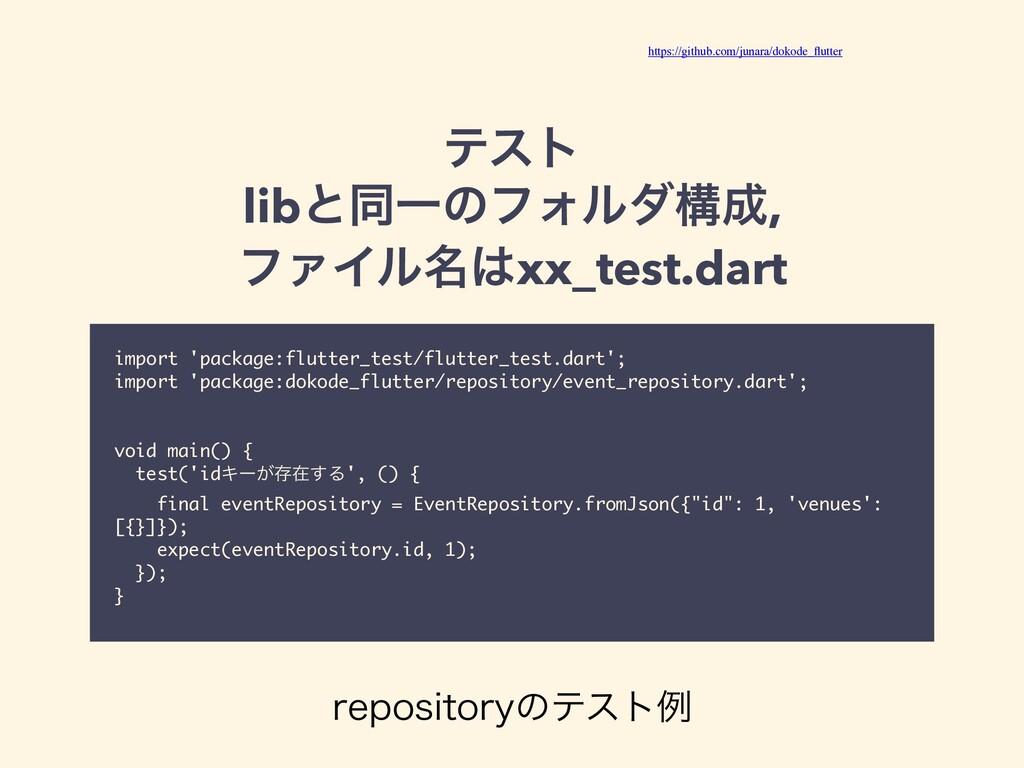 ςετ libͱಉҰͷϑΥϧμߏ, ϑΝΠϧ໊xx_test.dart import 'p...