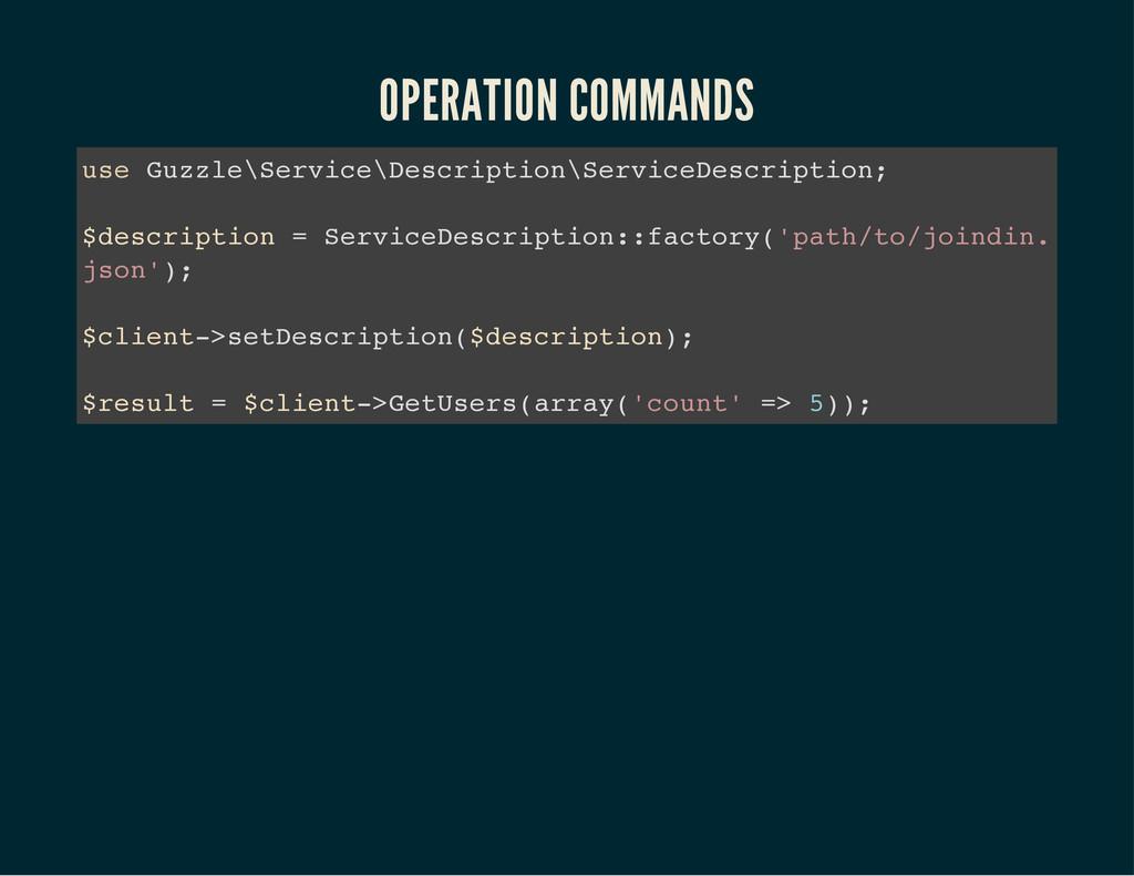 OPERATION COMMANDS u s e G u z z l e \ S e r v ...