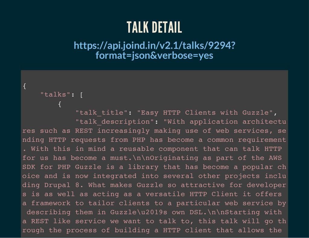 TALK DETAIL https://api.joind.in/v2.1/talks/929...