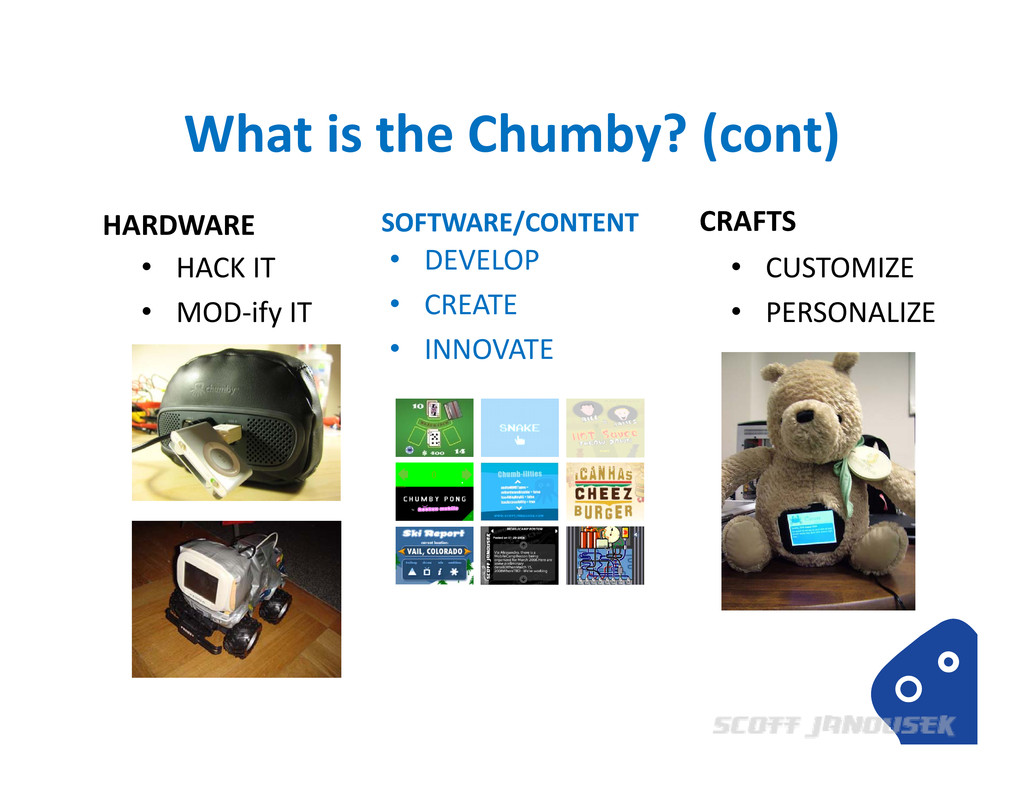 What is the Chumby? (cont) HARDWARE SOFTWARE/CO...