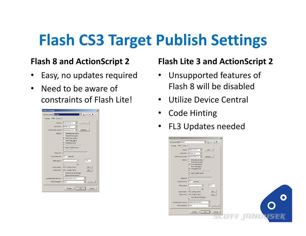 Flash CS3 Target Publish Settings Flash 8 and A...