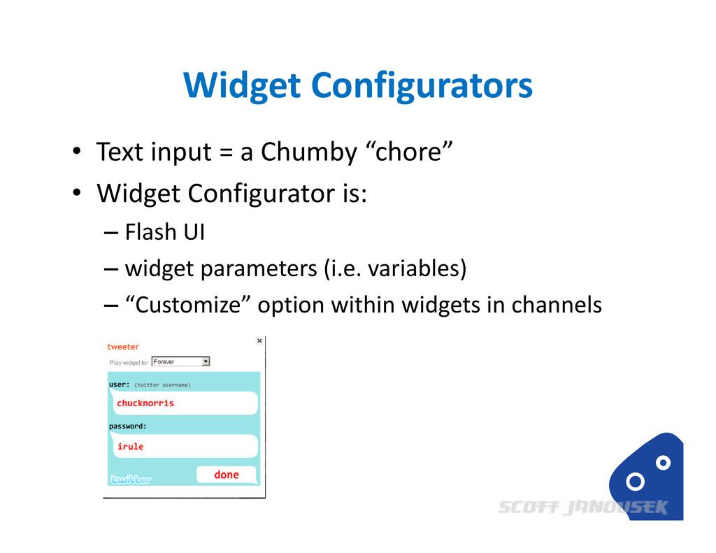 "Widget Configurators • Text input = a Chumby ""c..."