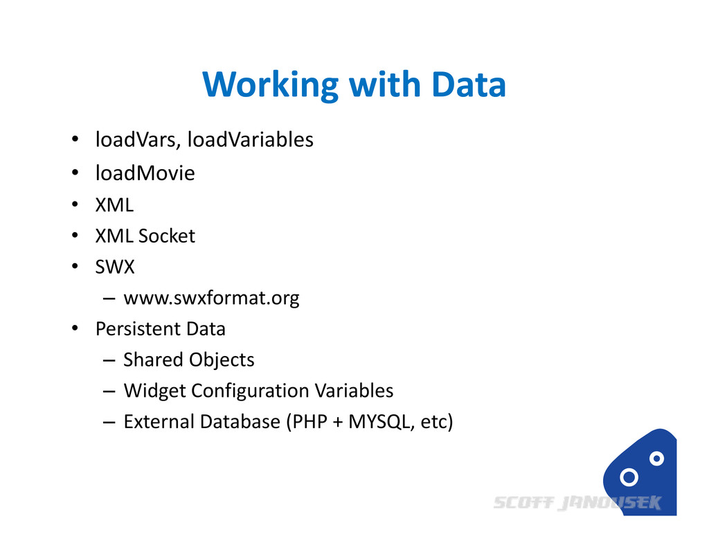 Working with Data • loadVars, loadVariables • l...