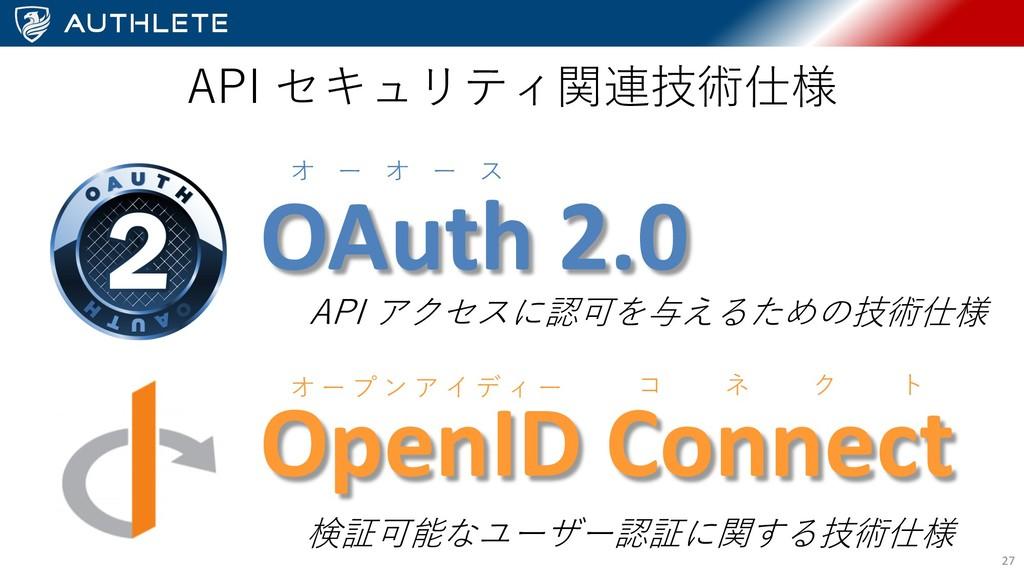 27 API アクセスに認可を与えるための技術仕様 OAuth 2.0 OpenID Conn...