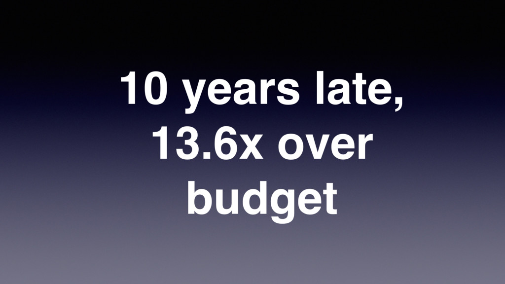 10 years late, 13.6x over budget