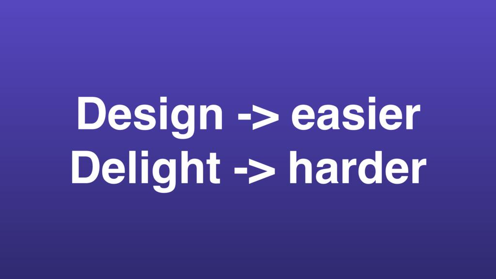 Design -> easier Delight -> harder