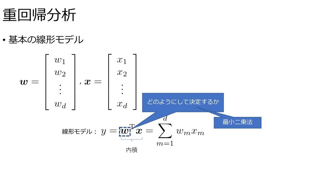 • 基本の線形モデル 線形モデル︓ , 内積 どのようにして決定するか 最⼩⼆乗法 重回帰分析