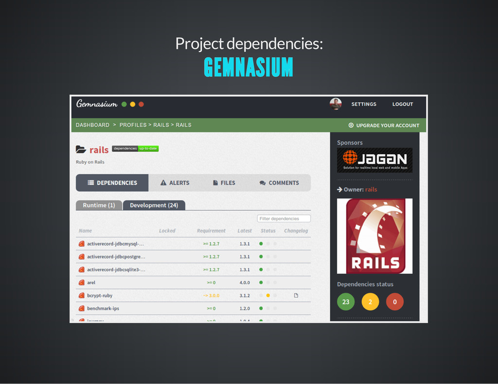 Project dependencies: GEMNASIUM
