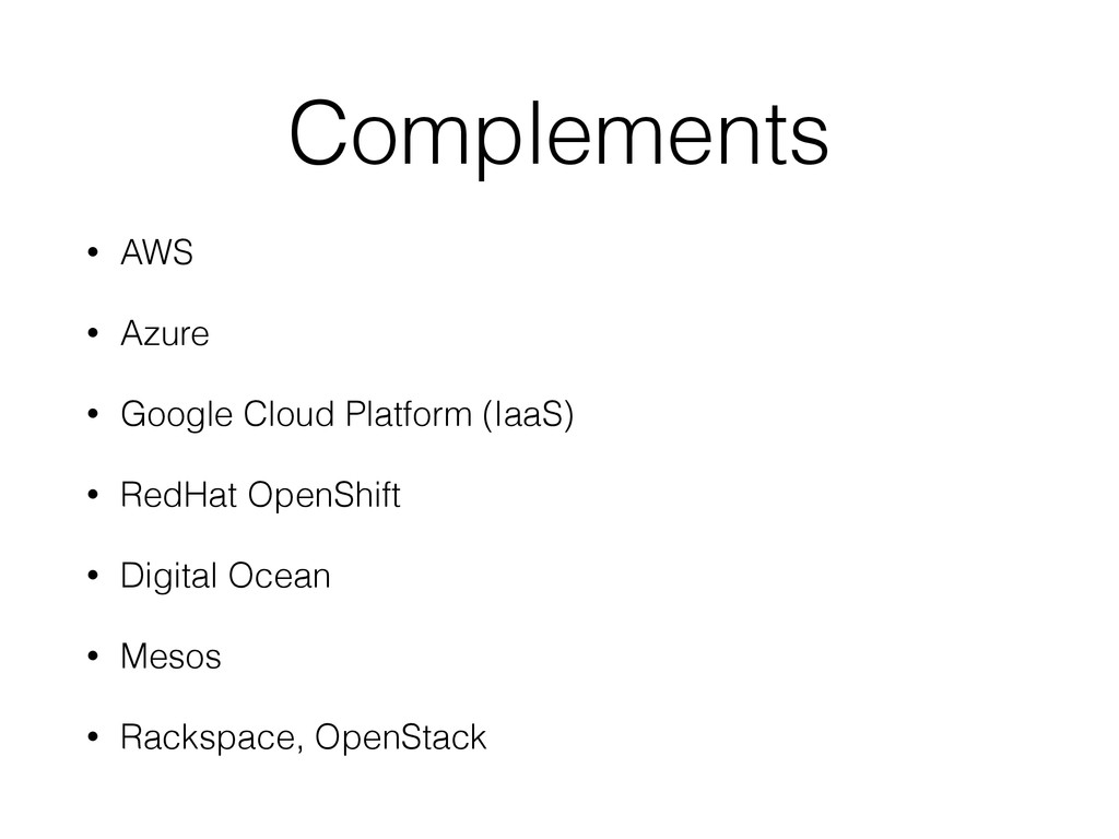 Complements • AWS • Azure • Google Cloud Platfo...