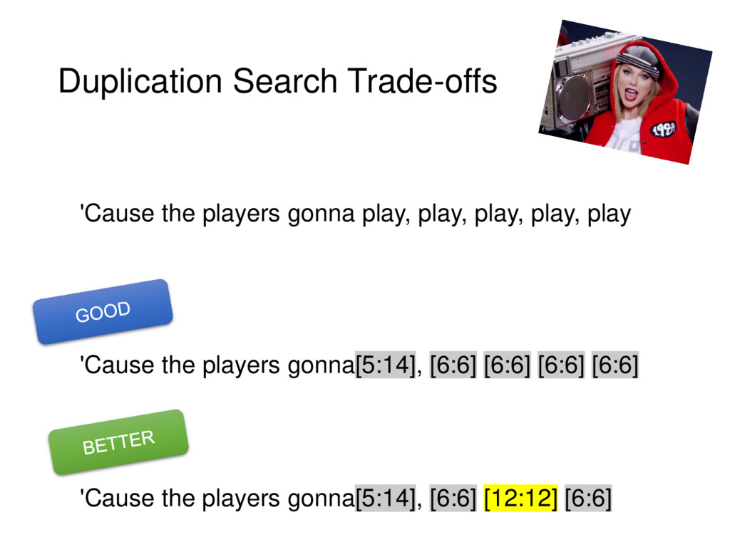 Duplication Search Trade-offs 'Cause the player...