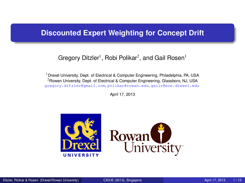 Discounted Expert Weighting for Concept Drift G...