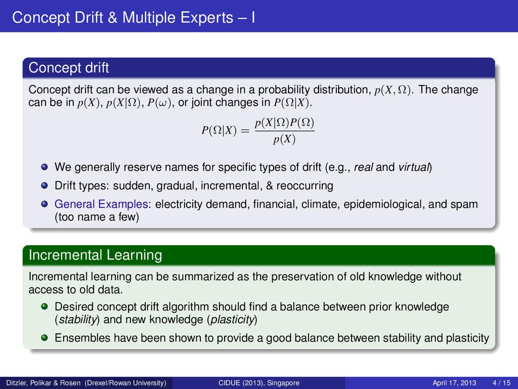 Concept Drift & Multiple Experts – I Concept dr...