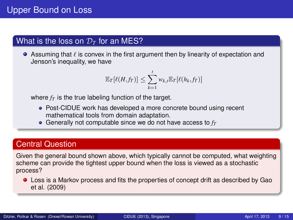 Upper Bound on Loss What is the loss on DT for ...