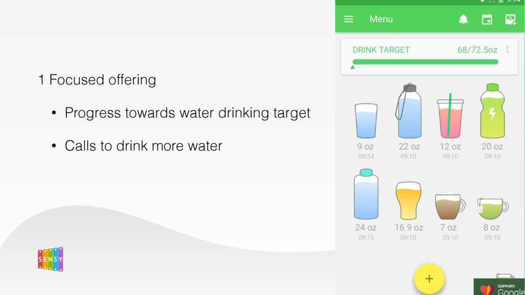 1 Focused offering • Progress towards water dri...
