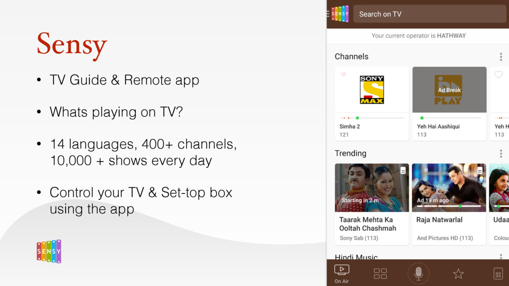 Sensy • TV Guide & Remote app • Whats playing o...