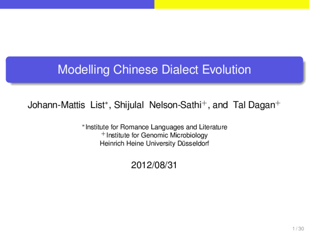 . . . . . . . Modelling Chinese Dialect Evoluti...