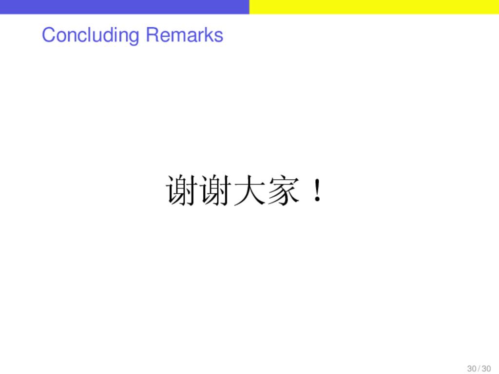 Concluding Remarks 谢谢大家! 30 / 30
