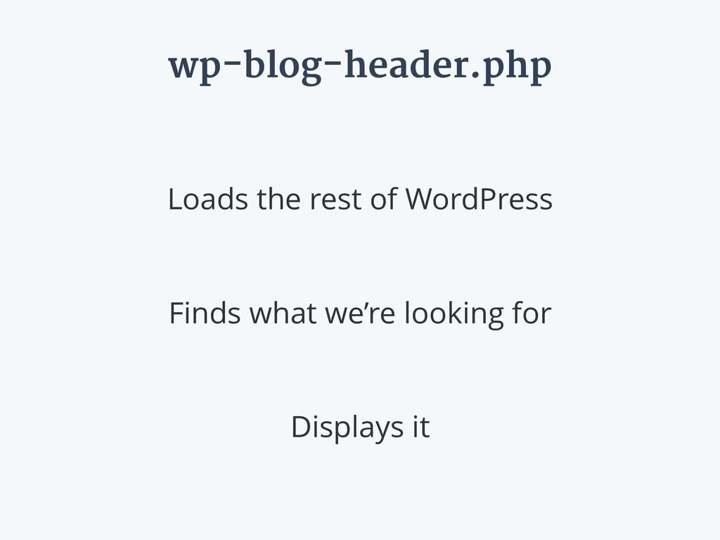 wp-blog-header.php Loads the rest of WordPress ...