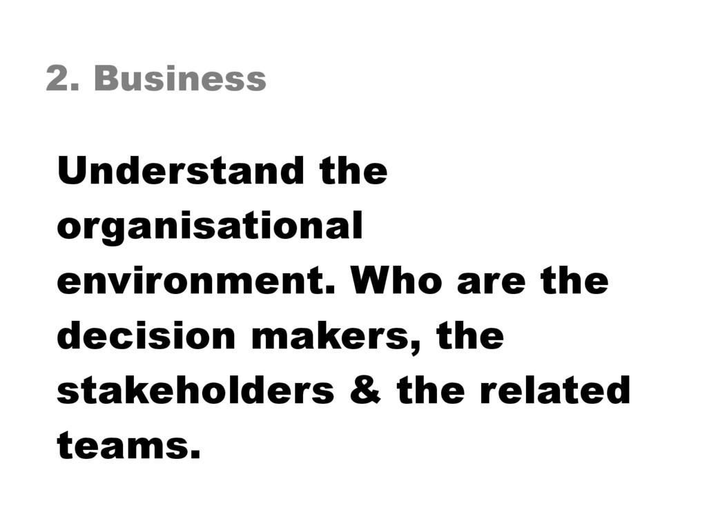 2. Business Understand the organisational envir...