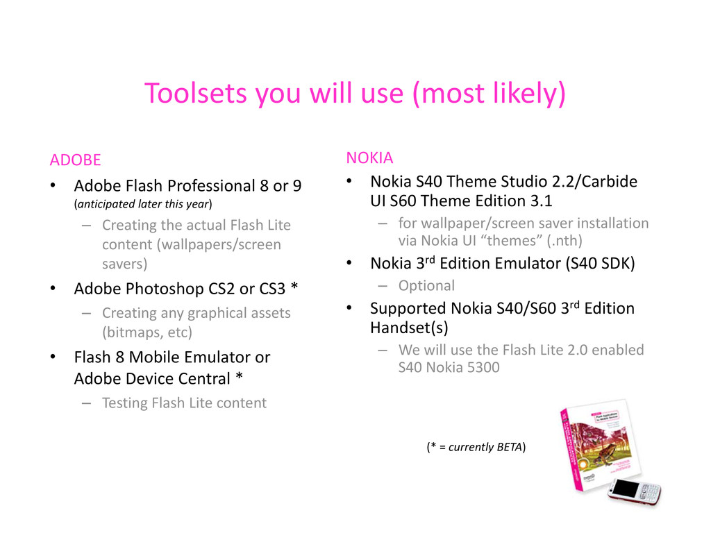 Toolsets you will use (most likely) Toolsets yo...