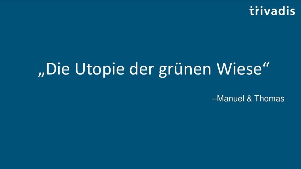 """""""Die Utopie der grünen Wiese"""" --Manuel & Thomas"""