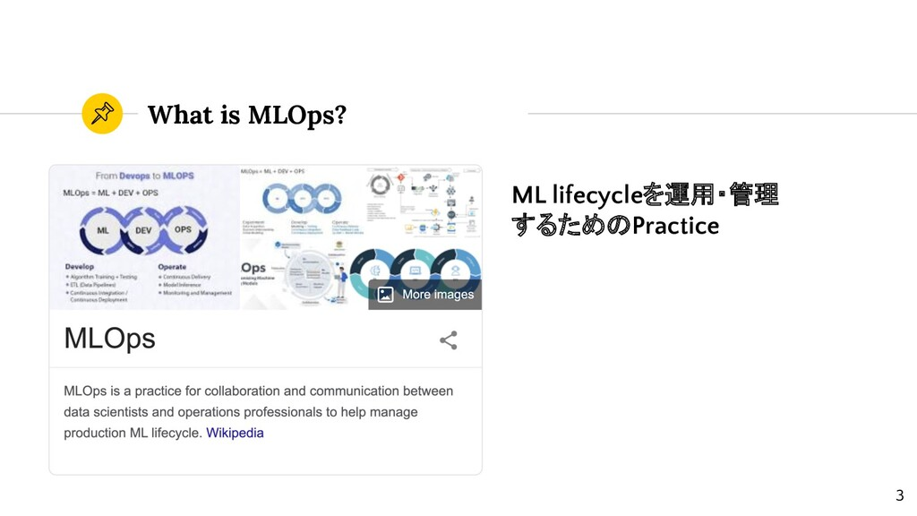 What is MLOps? ML lifecycleを運用・管理 するためのPractice...