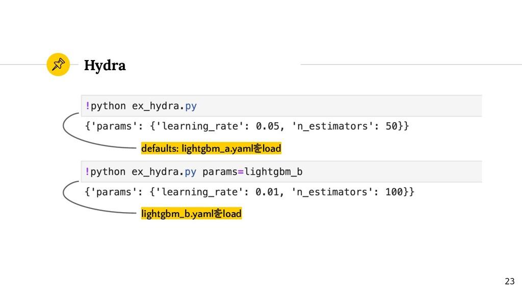 Hydra defaults: lightgbm_a.yamlをload lightgbm_b...