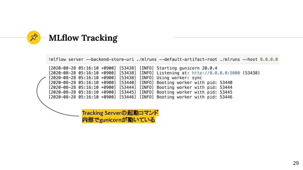 MLflow Tracking Tracking Serverの起動コマンド 内部でgunico...