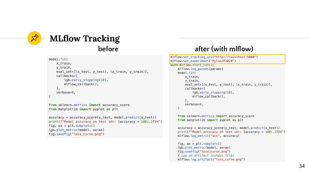 MLflow Tracking before after (with mlflow) 34