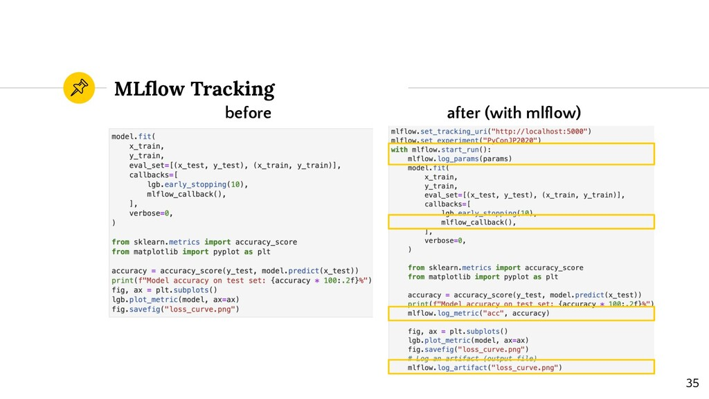 MLflow Tracking before after (with mlflow) 35