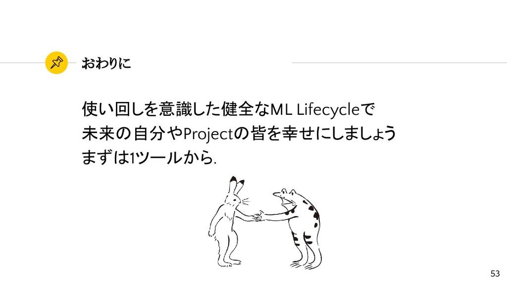 おわりに 使い回しを意識した健全なML Lifecycleで 未来の自分やProjectの皆を...
