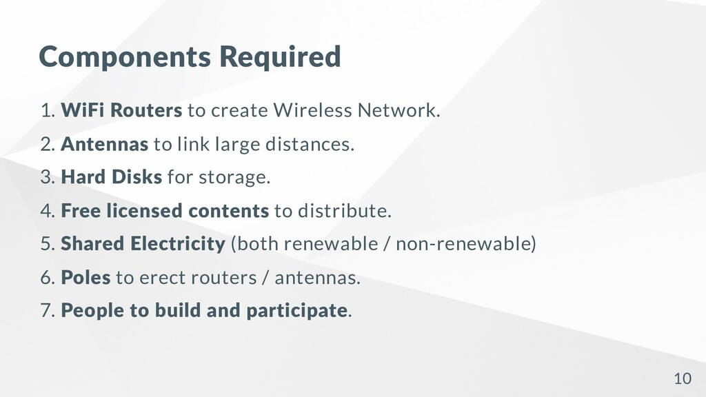 Components Required 1. WiFi Routers to create W...