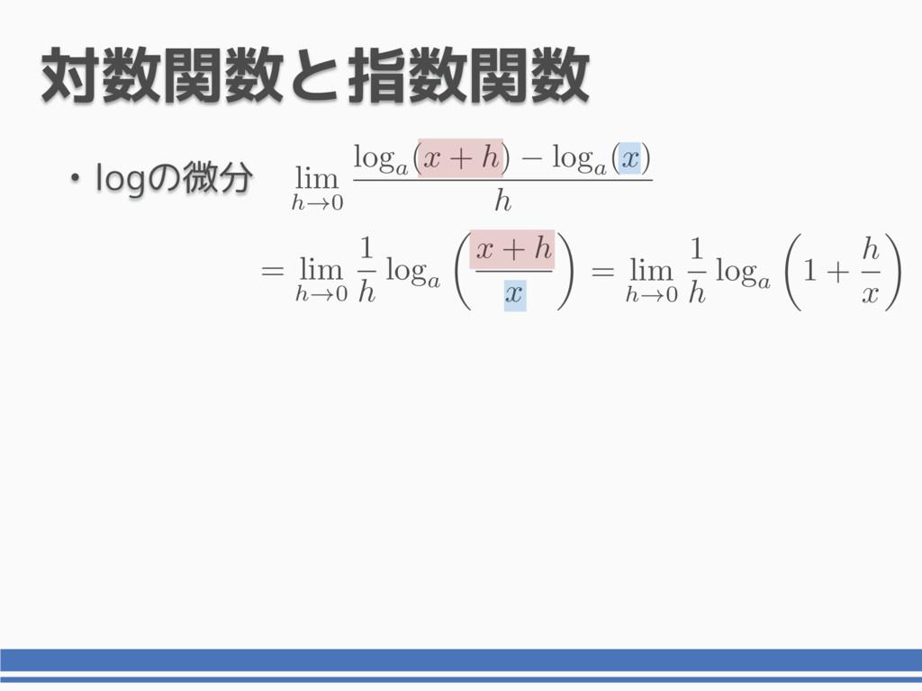 • logの微分 対数関数と指数関数 lim h!0 loga(x + h) loga(x) ...