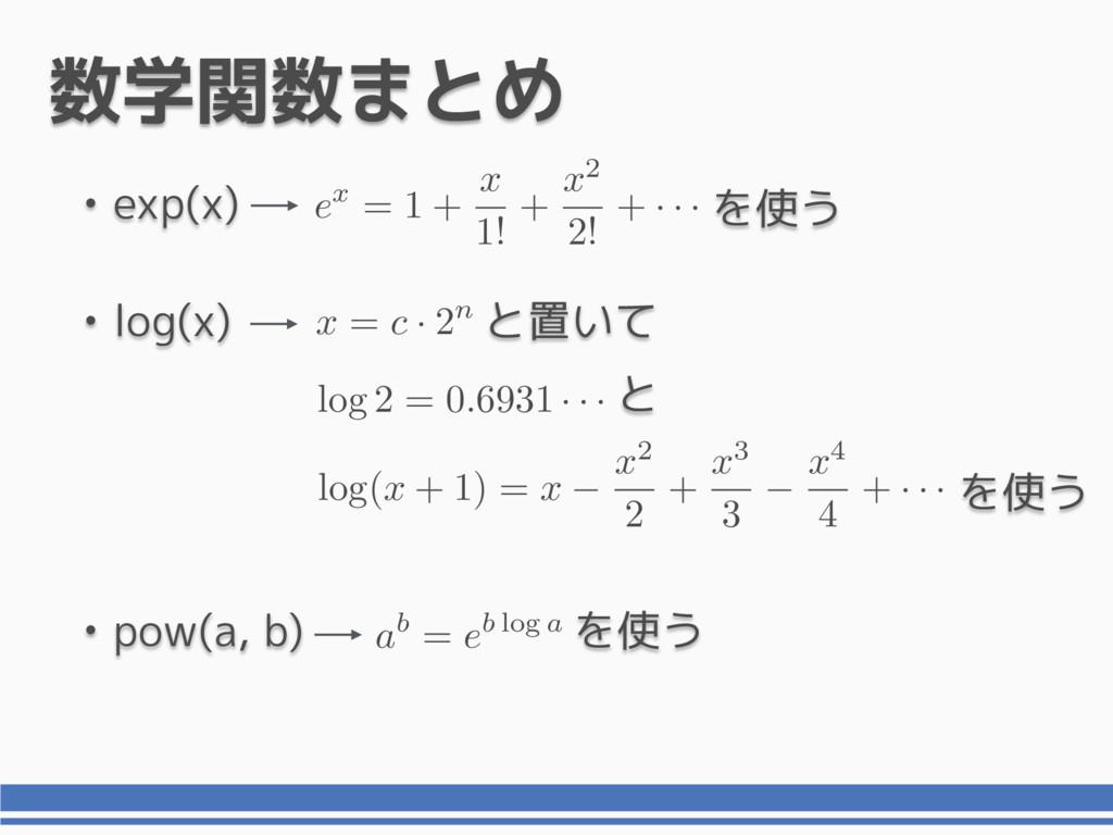 • log(x) と置いて 数学関数まとめ • exp(x) ex = 1 + x 1! + ...
