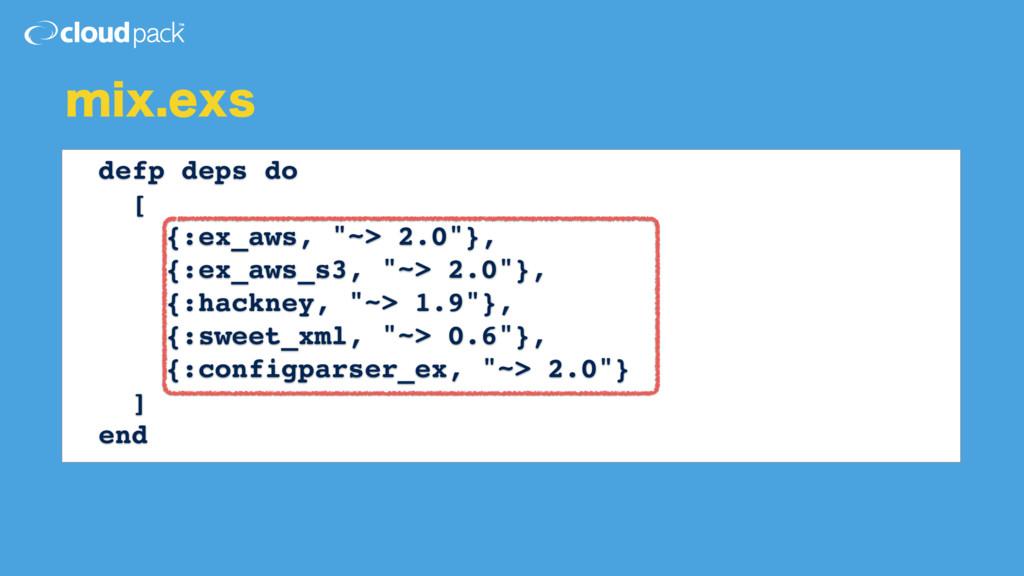 """NJYFYT defp deps do [ {:ex_aws, """"~> 2.0""""}, {:e..."""