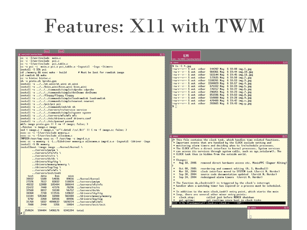 Features: X11 with TWM