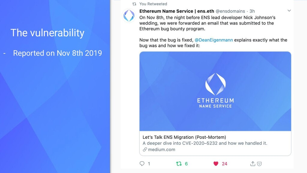 The vulnerability - Reported on Nov 8th 2019