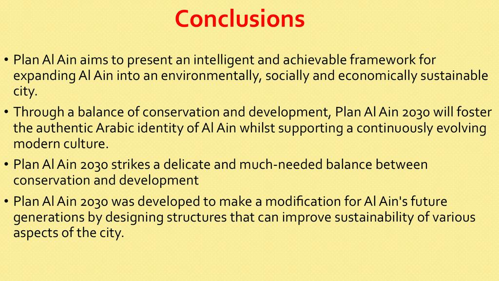 Conclusions  • Plan Al Ain aims ...