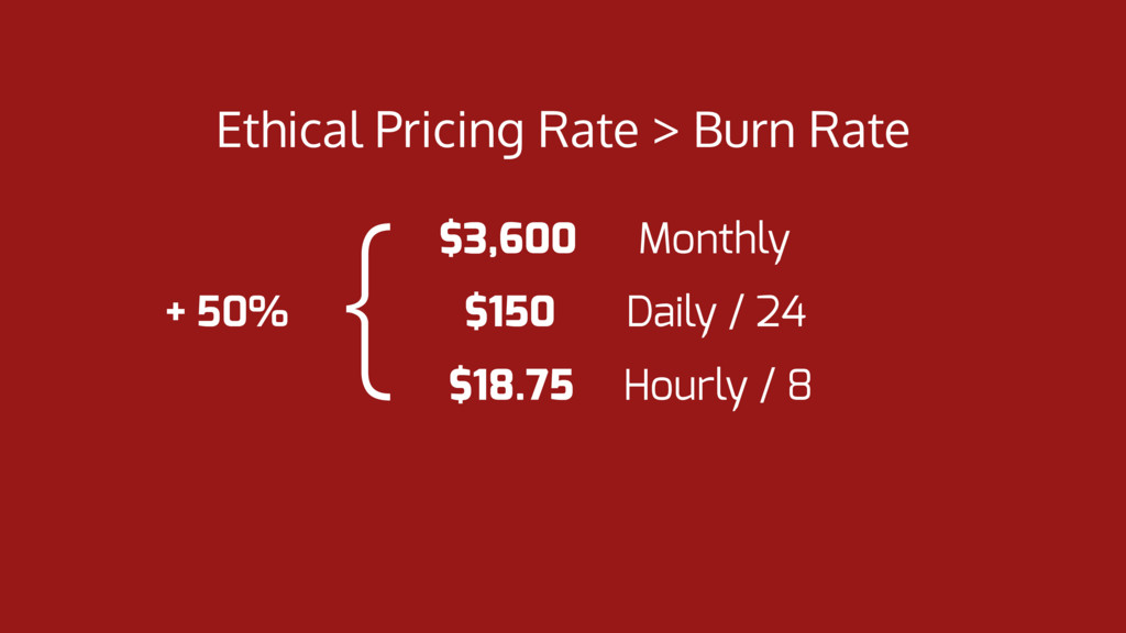 Ethical Pricing Rate > Burn Rate $3,600 Monthly...