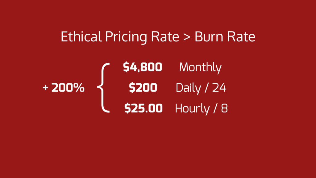 Ethical Pricing Rate > Burn Rate $4,800 Monthly...