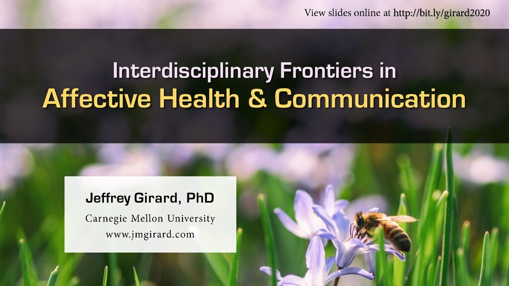 Interdisciplinary Frontiers in Affective Health...