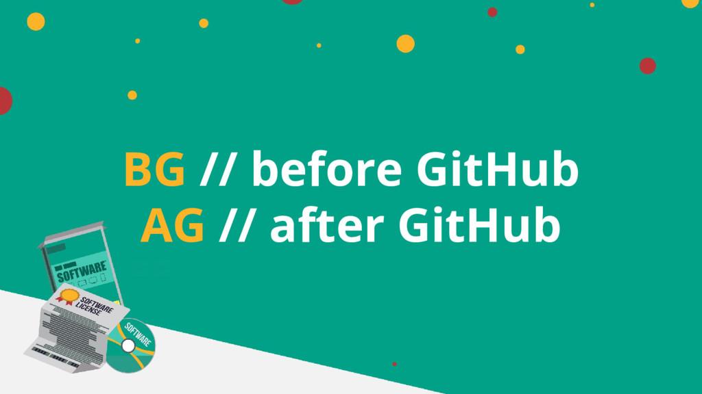 BG // before GitHub AG // after GitHub
