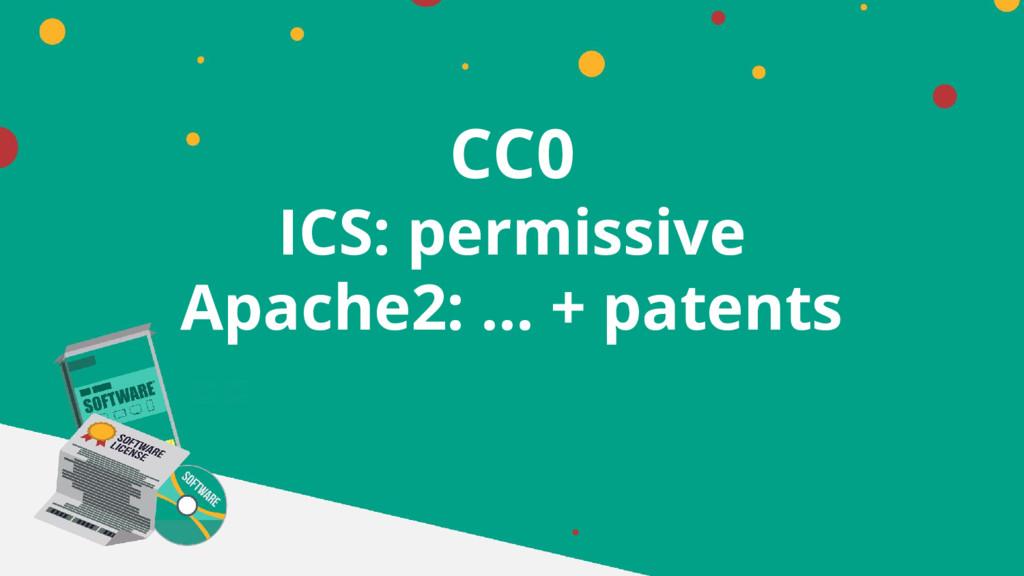 CC0 ICS: permissive Apache2: … + patents