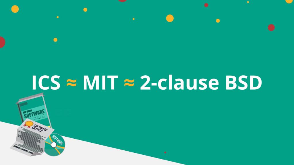 ICS ≈ MIT ≈ 2-clause BSD