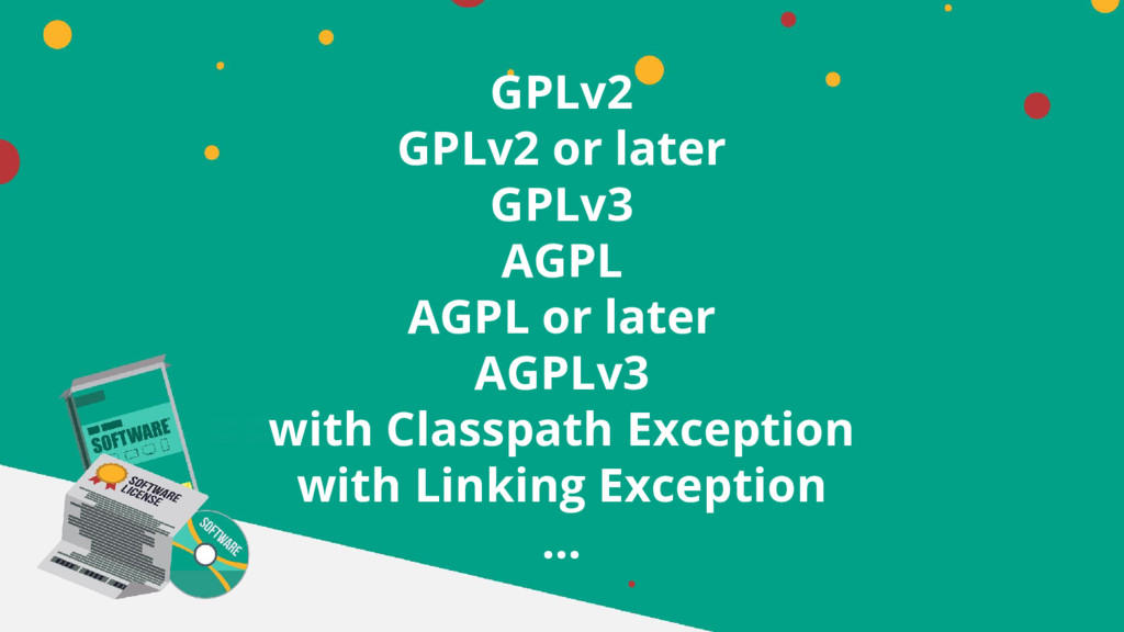 GPLv2 GPLv2 or later GPLv3 AGPL AGPL or later A...