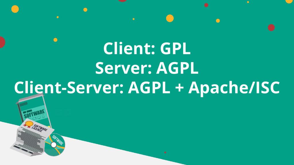 Client: GPL Server: AGPL Client-Server: AGPL + ...