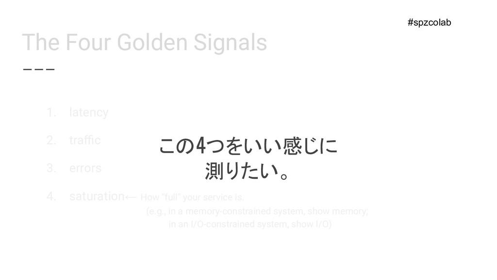 The Four Golden Signals この4つをいい感じに 測りたい。 1. lat...