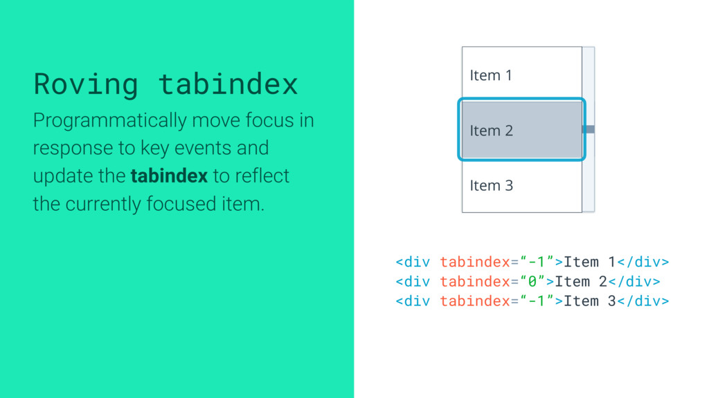 Roving tabindex Programmatically move focus in ...