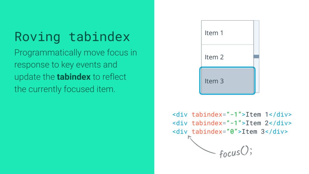 "<div tabindex=""-1"">Item 1</div> <div tabindex=""..."