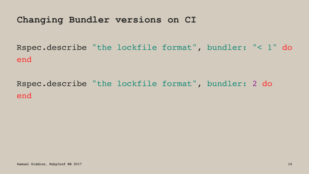 Changing Bundler versions on CI Rspec.describe ...